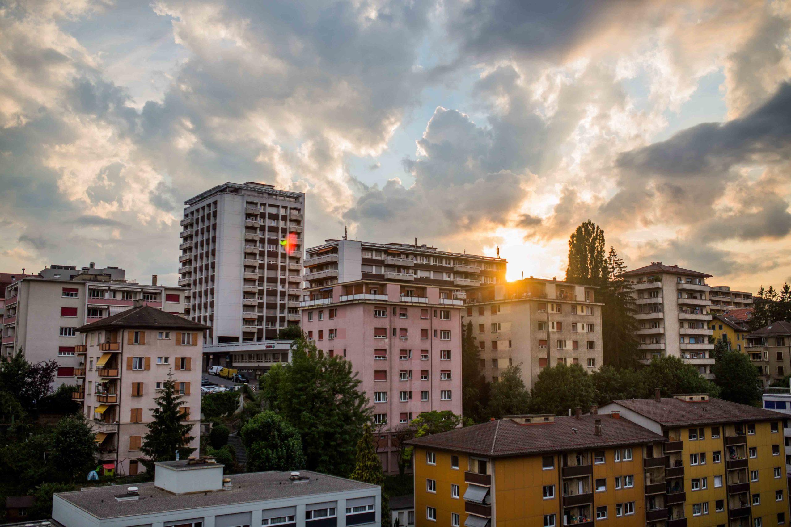 multifamily housing at sunset