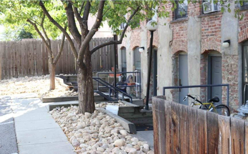Back yard area of affordable housing complex
